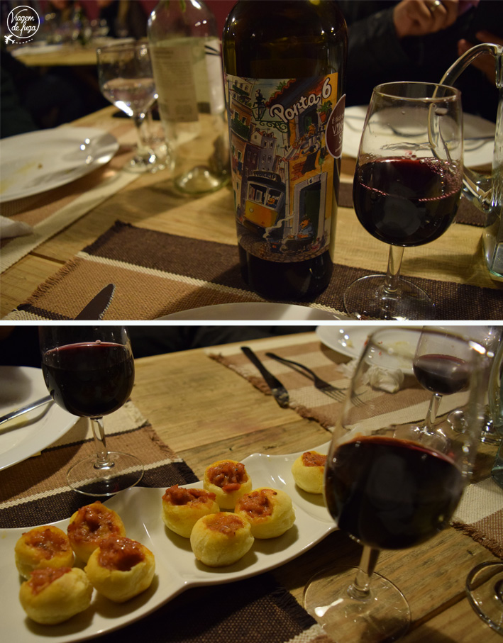 O português Porta 6 harmonizou com mini pão de queijo recheado com ragu de linguiça e erva doce