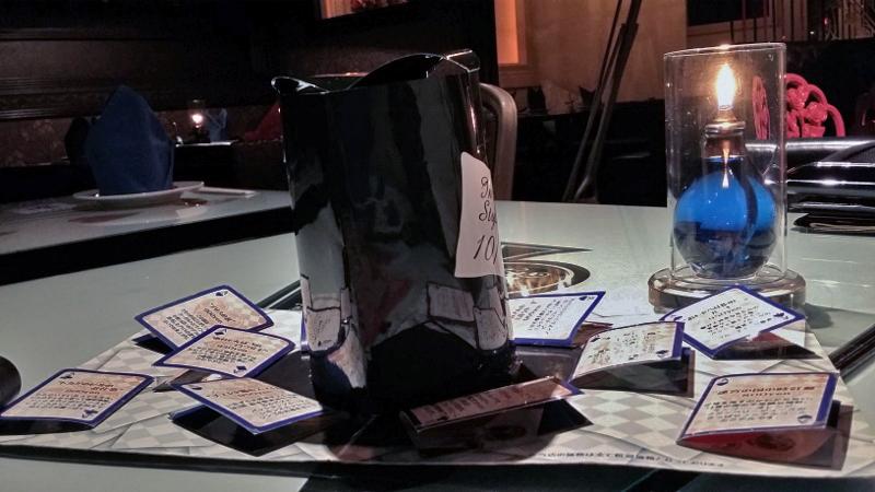 Cardápio de bebida: cada cartinha tem uma opção de drink